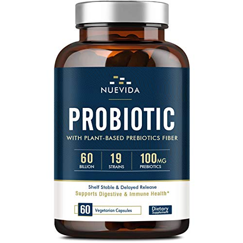 Probiotics 60 Billion CFU 19 Strains with Organic Prebiotic for Men & Women, Shelf Stable Delayed Release, No Need for Refrigeration, Digestive & Immune Health, Vegan, Non-GMO, Soy Dairy Free, 60 Caps
