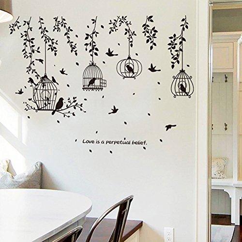 JoyRolly Adesivi murali Gabbia per Uccelli Neri Adesivi murali Rimovibili Decorazioni per la casa PVC Arte murale Neonati Ragazze Camerette Decorazioni per Cucina