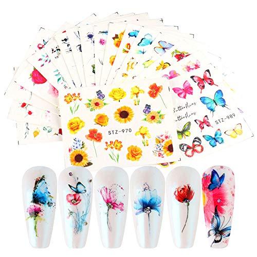MWOOT 18 Fogli Farfalla Adesivi Misti per Unghie, Nail Art Water Transfer Sticker Home Decalcomanie per Manicure con Fiori Butterfly per le Donne Bomboniere per le unghie Fai-Da-Te Decalcomanie