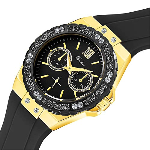 YIBOKANG Mode Sport Casual Silikon Gürtel Wild Inlaid Diamonds Uhr Damen Kleine Frische Wasser Bohrer Tisch Muschel wasserdichte Uhr (Color : 2)