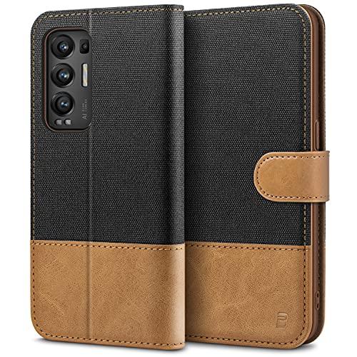 BEZ Handyhülle für Oppo Find X3 Neo Hülle, Tasche Kompatibel für Oppo Find X3 Neo, Schutzhüllen aus Klappetui mit Kreditkartenhaltern, Ständer, Magnetverschluss, Schwarz