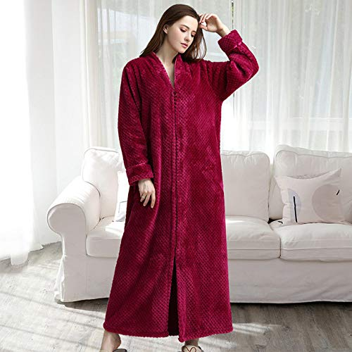 YRTHOR Men Plus Size Long Thermal Bathrobe, Thick Flannel Warm Kimono Bath Robe Mens Winter Dressing Gown Women Male Long Sleeve Robes,Mujer Rosa,M