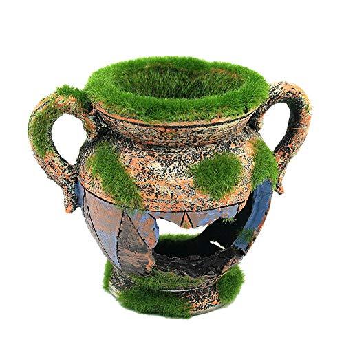 Ogquaton Aquarium Broken Vase mit künstlichem Moos Aquarium Ornamente Dekorationen Verstecken Höhlenfelsen Robust und kostengünstig