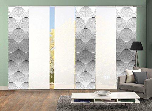 Home Fashion 96132 | 6er-Set Schiebegardinen BENARI in grau oder Petrol | blickdichter Dekostoff & transparenter Halborganza | 6X jeweils 245x60 cm | Farbe: (grau)