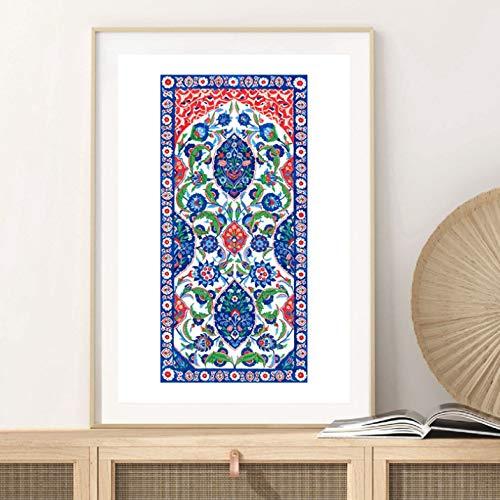 Azulejos decorativos turcos acuarela arte pintura lienzo cartel tradicional Estambul Floral patrón decoración 50X75Cm sin marco