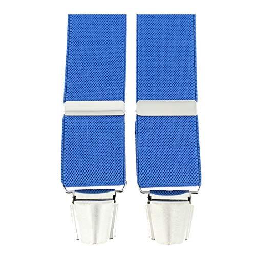 Tony & Paul. Bretelle. 4 clips, Viscose. Bleu, Uni. Fabriqué en Italie.