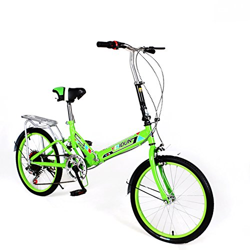 YEARLY Klapprad Damen, Erwachsene klappräder Damen fahrräder 6-Gang Shimano Männer und Frauen Stil Student-Auto Klappräder-grün 20inch