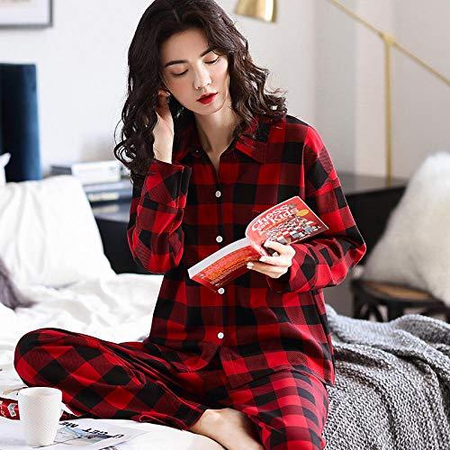 uwant:)sexy clothes Pyjamas Frauen Frühling und Herbst langärmelige Baumwolle dünne Plaid großen roten Anzug kann außerhalb des Home-Service @ XXL_AZM77095 getragen Werden