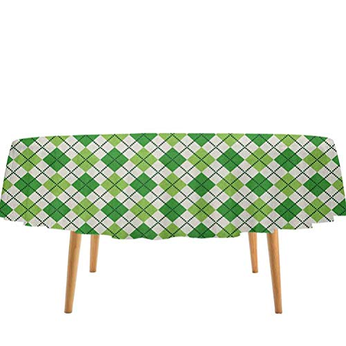 prunushome Irish Table Cloth Classical Argyle Diamond Line Pattern with Crosswise Lines Old Fashioned for Kitchen Dinning Tabletop Decoration Green Pale Green White (60' Round)