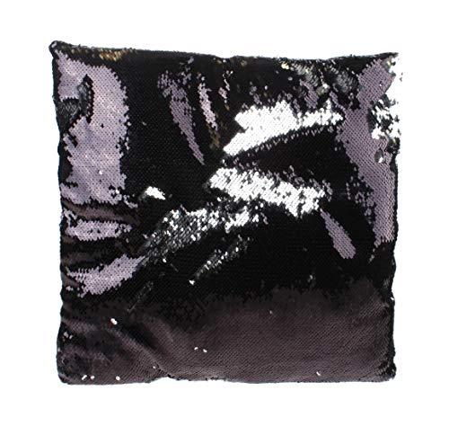 Kamparo Cojín de lentejuelas negro plata 30 cm