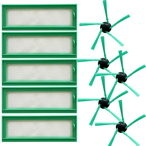 De Galen Piezas de repuesto 10 piezas de filtros de cepillos laterales Kit de piezas de repuesto compatible con Vorwerk VR200 Robot Aspiradora Accesorios de aspiradora Accesorios