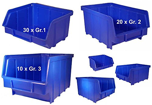 3 Größen Set 60 Stapelboxen...