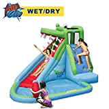 ACTION AIR Inflatable Waterslide, Crocodile Bounce House with Blower for Wet and Dry, Inflatable...
