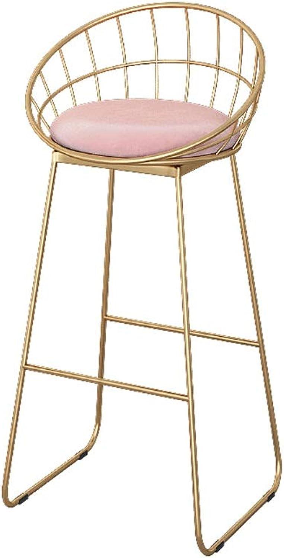 Elegant Family Bar Stool Fabric Metal High Stool for Kitchen Living Room Pink 65cm 0524BAR