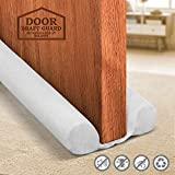 Holikme Twin Door Draft Stopper Weather Stripping Window Breeze Blocker Adjustable Door Sweeps 34inch ,White