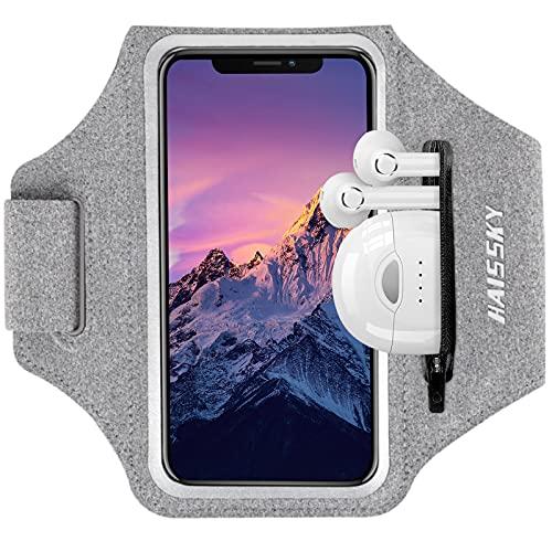 HAISSKY Fascia da Braccio con Borsa Auricolare, Fascia Sportiva da Braccio Porta Cellulare Braccio Portacellulare Armband per iPhone 12 Pro/11 Pro/11/XR/XS/X Galaxy S10/S9/S8 Fino a 6,5'