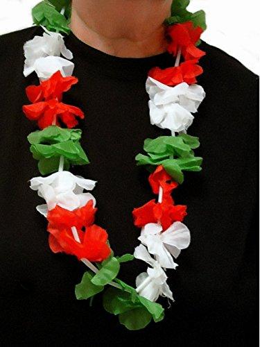 u 10x Blumenkette/Hawaiikette / Halskette - rot-weiß-grün (ITALIEN, UNGARN, MEXIKO, IRAN) - Umfang zirka 100 cm