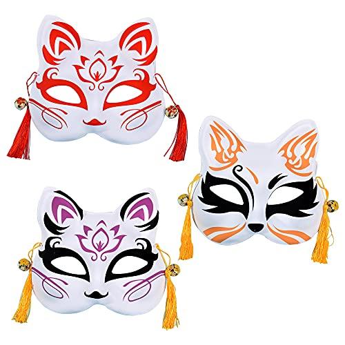 KKTICK Máscara de zorro unisex, 3 piezas Máscara de estilo japonés Máscara de zorro adulto Cosplay media cara con borlas, Máscara de disfraces de disfraces para Halloween Fiesta de Navidad Cosplay