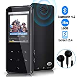 Lettore MP3, lettore MP3 Bluetooth da 16 GB con riproduzione di 55 ore, lettore musicale di musica digitale con altoparlante FM memoria espandibile fino a 128 GB