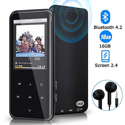 Reproductor de MP3, Reproductor de MP3 Bluetooth de 16 GB con 55 Horas de reproducción, Reproductor de música Digital con Soporte para Auriculares, Altavoz FM, Memoria expandible de hasta 128 GB