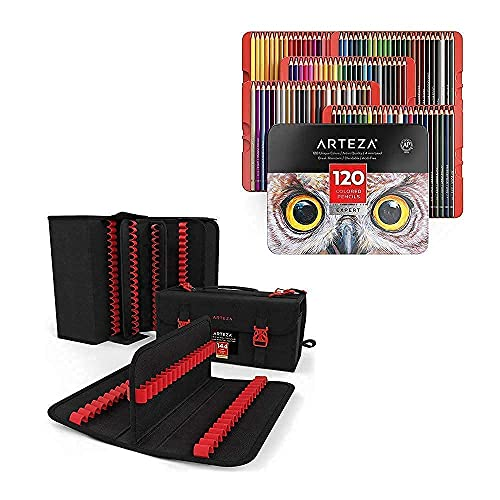 Arteza Colored Pencils and Pens Organizer Bundle, Drawing Art Supplies for Artist, Hobby Painters & Beginners