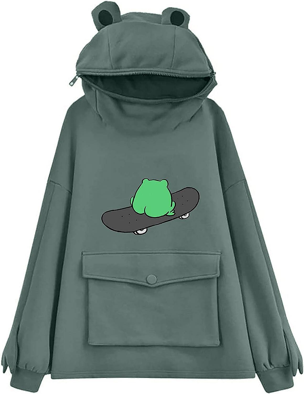 Sweatshirts for Women Hoodie,Frog Print Hoodie for Teen Girls Kawaii Pullover Trendy Pocket Long Sleeve Blouse Tops
