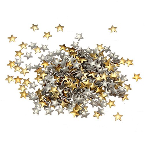 TOOGOO 250 pieces de patchs en forme de pentagone en metal d'or et argente pour la manucurie 5MM
