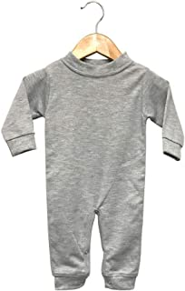 Laughing Giraffe Baby Infant Blank Long Sleeve Jumpsuit Romper Sleep 'N Play (6-12M, Heather Gray)