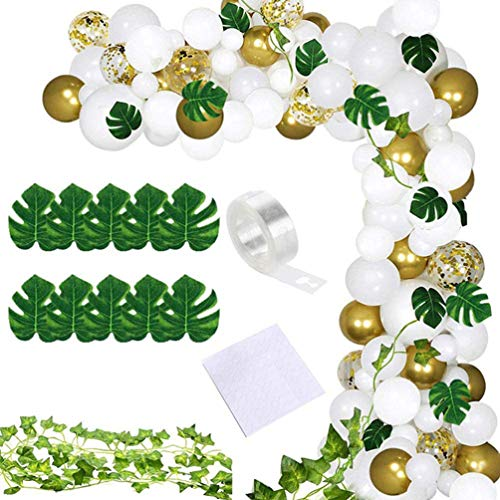 Toyvian 1 Set Tropical Balloons Garland Kit Party Decoration Latex Balloons Confetti Balloons Glue Points Monstera Banner for Baby Shower Wedding Birthday (3 Colors)