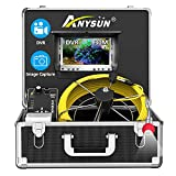 Sewer Pipe Inspection Camera, Anysun 30M/100ft Waterproof IP68 Plumbing Camera with DVR Recorder, Pipeline Drain Industrial Endoscope Snake Cam with 7 Inch LCD Monitor 1000TVL (Include 8GB SD Card)