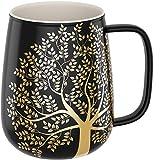Amapodo, tazza da caffè grande, in porcellana, con manico, 600 ml, colore grigio scuro, regalo per donne e uomini
