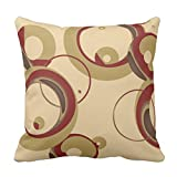 Emvency Throw Pillow Cover Colorful Circle Modern Bubbles Tan Circles Decorative Pillow Case Home Decor Square 18 x 18 Inch Pillowcase