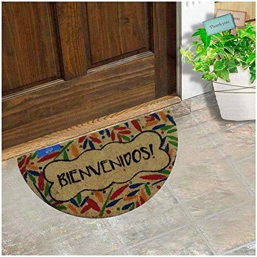 Felpudo para Puerta de Casa de Fibra de Coco Estampado de 15 mm Antideslizante, Diseño Bienvenido Hojas Forma SemiLuna 30x55