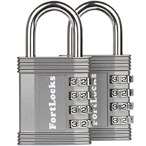 FortLocks Padlock - 4 Digit Combination Lock for Gym Outdoor & School Locker, Fence, Case & Shed – Heavy Duty Resettable Set Your Own Combo – Waterproof & Weatherproof (2 Pack - Silver)
