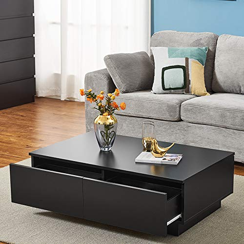 Modern Coffee Table, Rectangle Side End Table With 4 Drawer Large Storage Place Sofa Tea Table Living Room Home Office Furniture (Black)