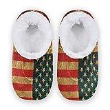 TropicalLife BGIFT Zapatillas de baloncesto con la bandera de Estados Unidos, para mujeres y hombres, espuma viscoelástica, cálidas y suaves, forradas con forro polar, para interiores y exteriores, p