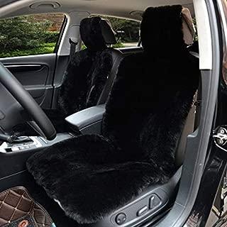 IMQOQ A Pair Genuine Sheepskin Short Wool Car 2 Front Seat Covers Set Winter Warm Universal Black