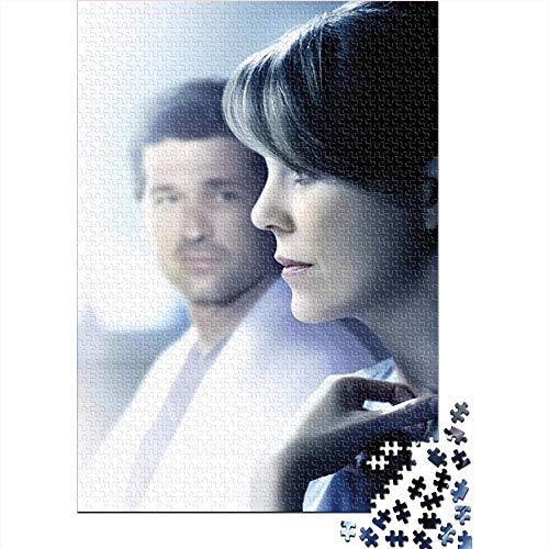 CELLYONE Puzzle für Erwachsene 1000 Teile Grey Anatomy: TV Show Poster 1000-teiliges Puzzlespiel-Puzzle Brain Challenge Puzzlespiel Spielzeug 75x50CM(1000pcs)