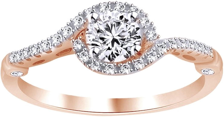 AFFY weien Zirkonia mit Halo-Ring, 18kt verGoldet, Sterling-Silber, (1), cttw
