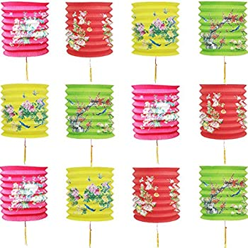 MATTTIME Chinese New Year Hanging Flowers Paper Lantern 2021 Year of The Ox Party Decoration Spring Festival Wedding Restaurant School Supplies Props Foldable Set of 12