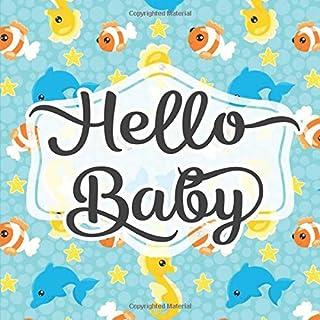 Hello Baby: Baby Shower Guestbook - Space for Photos - Seahorse Nautical Ocean Blue