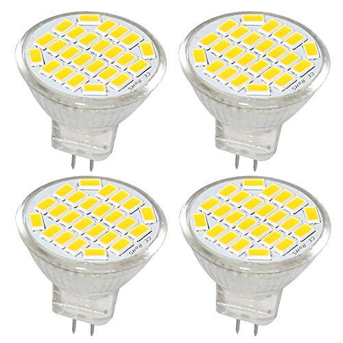 Jenyolon MR11 GU4 LED Lampen neutralweiß 3W AC/DC 12V, 4000K, 400Lm, Ersatz für 30W Halogenlampen Glühlampen, MR11 LED Leuchtmittel klein Birne Spot Licht, 120°Abstrahlwinkel, 4er Pack