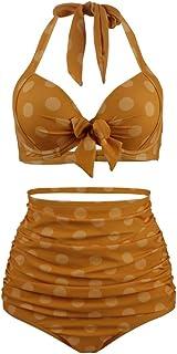 Goldt1 水着は女性のための黄色のドット水着ホルターネック花ハイウエストツーピースセクシービキニ用女性のための隠し紐でローカットとプリント