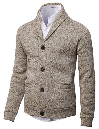 H2H Mens Knitted Fashion Long Sleeve Shawl Collar Button Front Cardigan Ivory US L/Asia XL (CMOCAL031)
