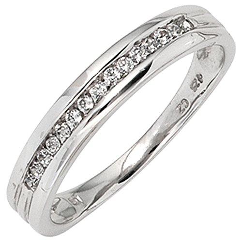 JOBO Damen-Ring aus 585 Weißgold mit 15 Diamanten Größe 60