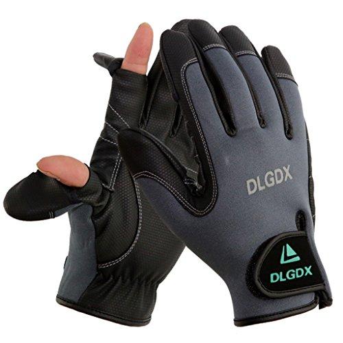 IvyH Angeln Handschuhe - Cabrio Handschuhe Winddicht Wasserdicht Atmungsaktiv Kalt Wetter Handschuhe Daumen und Zeigefinger Caps