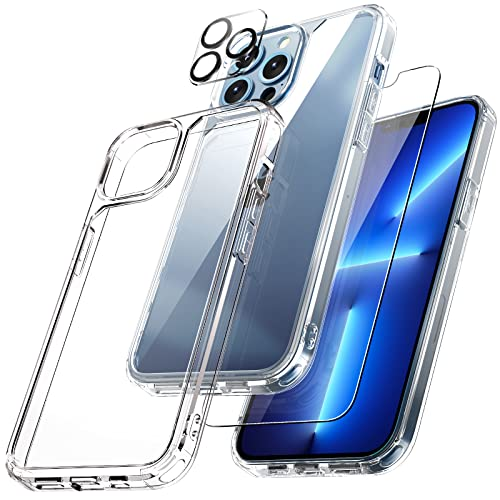 TAURI [3 in 1] Defender Designed for iPhone 13 Pro Case 6.1 Inch, with 2 Pack Tempered Glass Screen Protector + 2 Pack Camera Lens Protector [Military Grade Protection] Shockproof Slim Thin