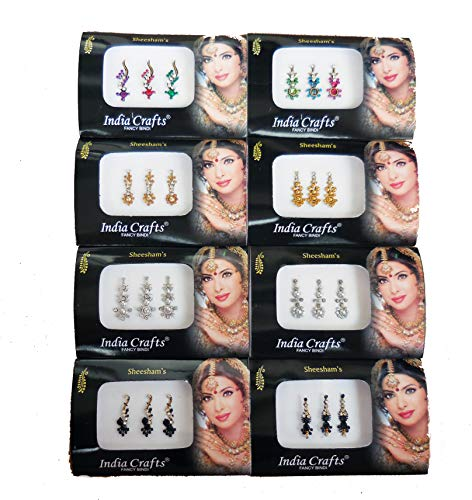 8 Combo Bindi Packs Silver/Gold/Black/Multicolored Face Jewels Bollywood tika