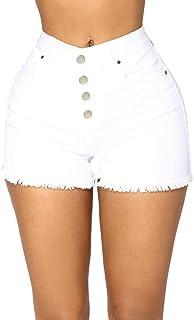 Jieming ハイウエストバックル大型デニムショートパンツ女性の夏の新しいカジュアルローエッジホットパンツルーズ (Color : White, Size : L)