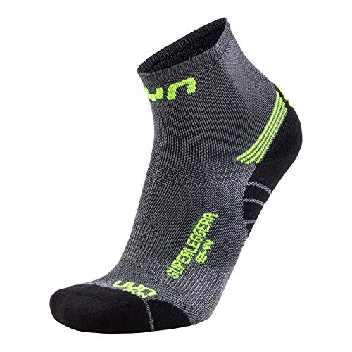 UYN Herren Run SUPERLEGGERA Socks Strumpf, Silver/Yellow Fluo, 39/41